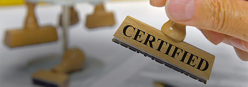 The compliance certificate received in the field of information security